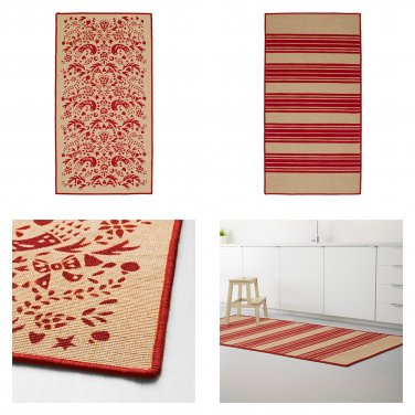 IKEA Vinter 2016 RED Striped Tolle Pattern RUG Area Throw Mat LOW PILE Natural XMAS Vinter