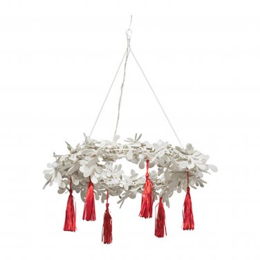 IKEA Strala Pendant Lamp CHANDELIER LED Light WHITE RED Wreath XMAS STR�LA Glansa Kallt
