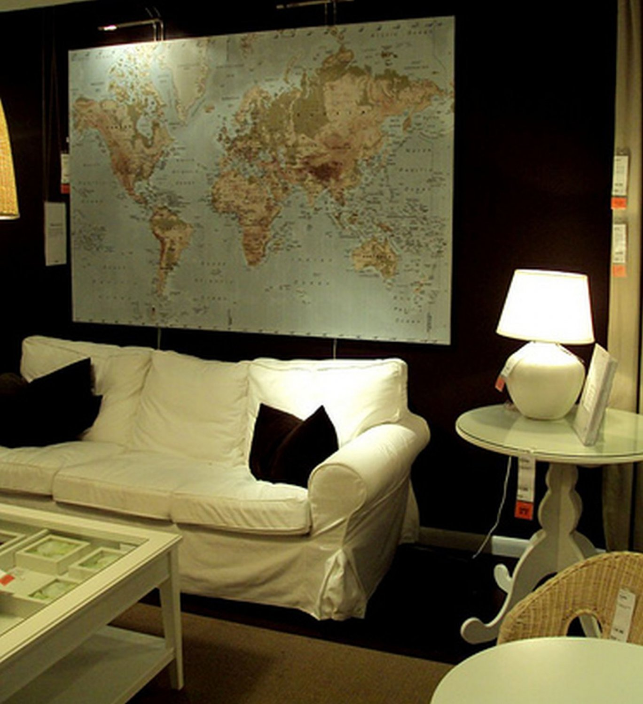 IKEA  Premiar WORLD MAP Canvas WALL ART Print and Frame HUGE PREMI�R Last One