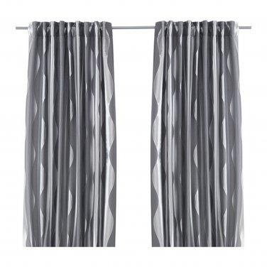"IKEA Murruta CURTAINS Drapes 2 Panels GRAY 98"" Wavy Stripes Tone on Tone Hollywood Regency"