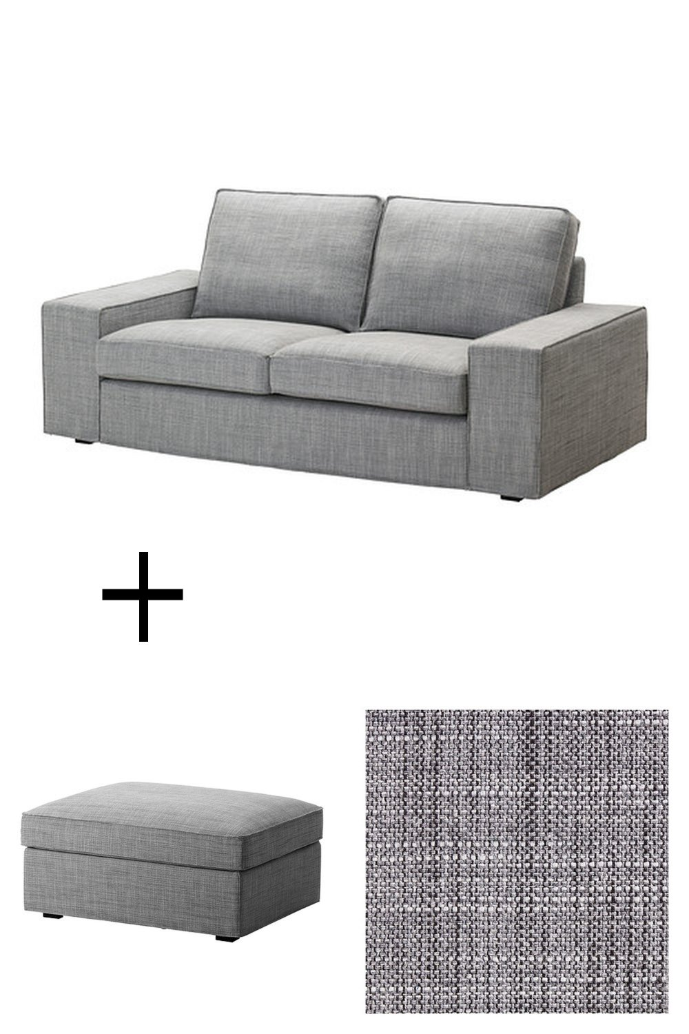 ikea kivik 2 seat sofa and footstool slipcovers loveseat ottoman covers isunda gray grey. Black Bedroom Furniture Sets. Home Design Ideas