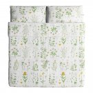 IKEA Strandkrypa QUEEN Full Duvet COVER Pillowcases Set Botanical GREEN Yellow WHITE Pink FLORAL