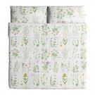IKEA Strandkrypa QUEEN Full Duvet COVER Pillowcases Set Botanical GREEN Yellow WHITE Pink FLORAL