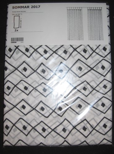 IKEA Sommar 2017 Drapes CURTAINS  Black White TAB TOP 2 Panels