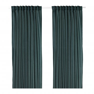 "IKEA Vivan CURTAINS Drapes GREEN-BLUE 2 Panels 98"" Length Green Blue"