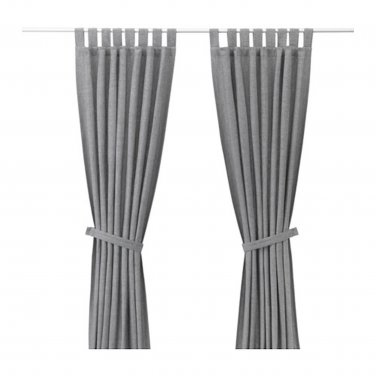 "IKEA Lenda CURTAINS w TIE-BACKS Light GRAY 98"" Drapes Grey TAB Top"