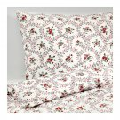 IKEA Hallrot QUEEN Full Duvet COVER and  Pillowcases Set FLORAL Red White Colonial HÅLLROT