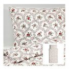 IKEA Hallrot TWIN Duvet COVER and Pillowcase Set FLORAL Red White Colonial HÅLLROT