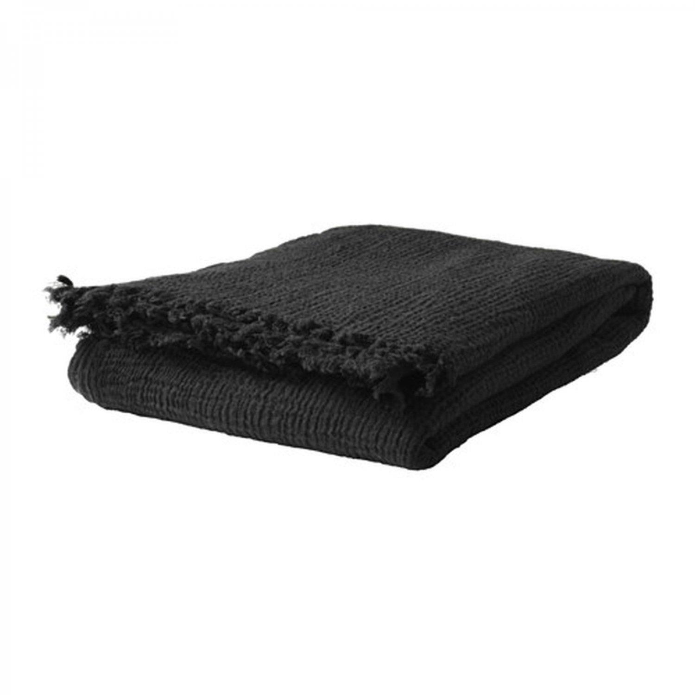 IKEA Svartan Throw BLANKET Afghan BLACK Textured SV�RTAN Wool Blend