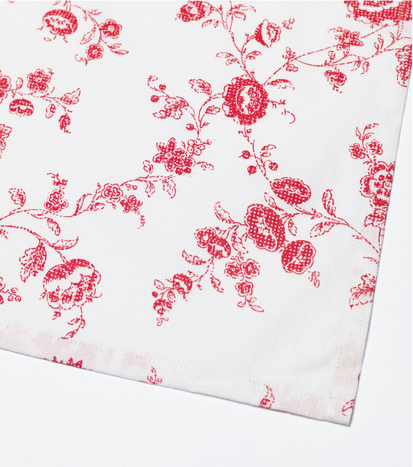 IKEA Inbjudande Rectangular TABLECLOTH Red White Cotton Floral Retro Dot Design Large OBLONG Fabric
