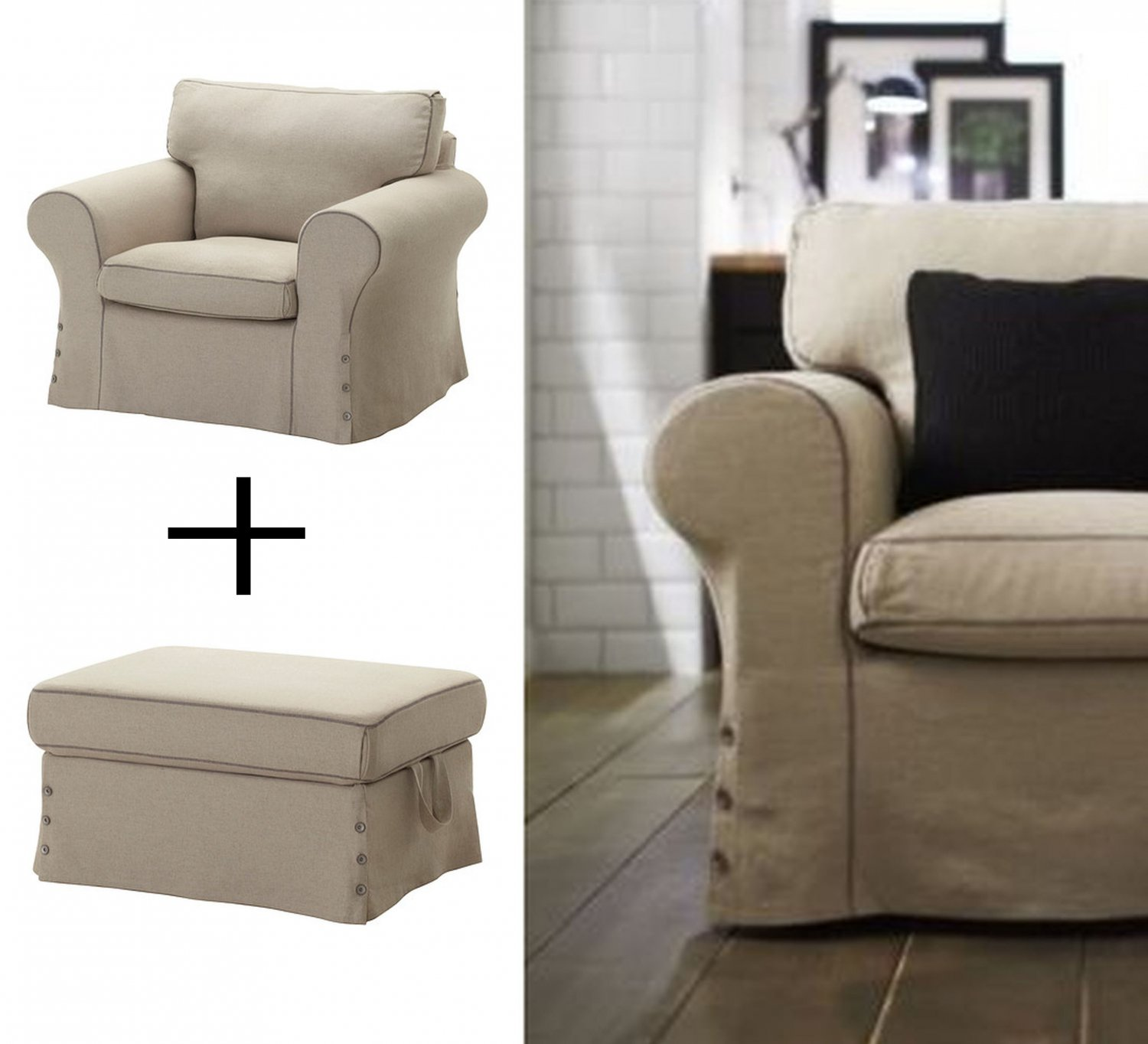IKEA EKTORP Armchair and Footstool Ottoman COVERS Chair Slipcovers  RISANE NATURAL Linen Blend Beige