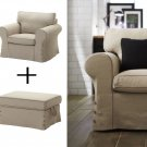 IKEA EKTORP Armchair and Footstool COVERS Chair Slipcovers  RISANE NATURAL Linen Blend Beige