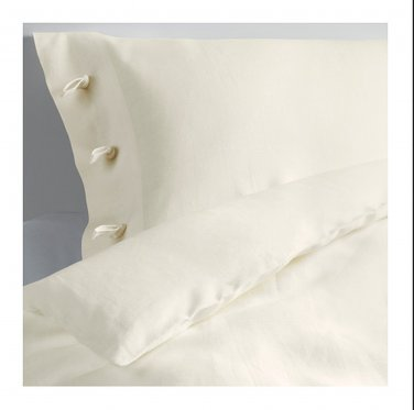 IKEA Linblomma KING Duvet COVER and Pillowcases Set LINEN Winter White DYEABLE