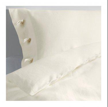 IKEA Linblomma QUEEN Full Duvet COVER and Pillowcases Set LINEN Winter White