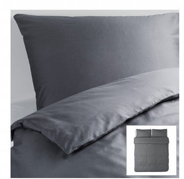 IKEA Gaspa KING Duvet COVER and  Pillowcases Set GRAY Grey G�SPA Soft