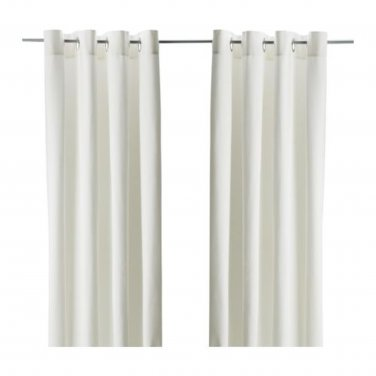 "IKEA Merete CURTAINS Drapes 2 Panels BLEACHED WHITE Cotton 98"" Grommet Eyelet Top"