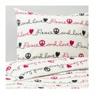 IKEA Vanskaplig TWIN Single Duvet COVER Pillowcase Set PEACE Love Script Letters VÄNSKAPLIG