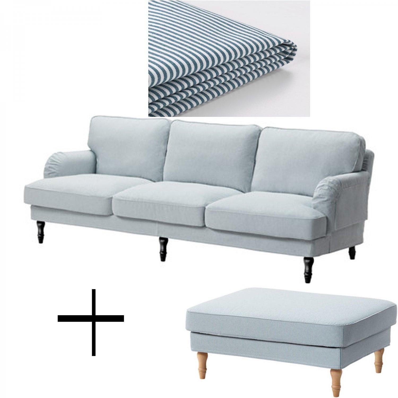 Ikea stocksund 3 5 seat sofa and footstool ottoman for Sofa und seat