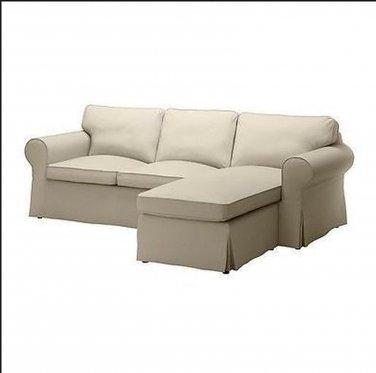 IKEA Ektorp 2 Seat Loveseat sofa with Chaise COVER Slipcover TYGELSJO BEIGE Tygelsjö