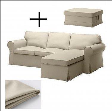IKEA Ektorp Loveseat sofa with Chaise and Footstool COVERS Slipcovers TYGELSJO BEIGE Tygelsjö
