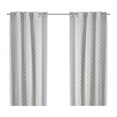 "IKEA Henny Rand CURTAINS Drapes 2 Panels  WHITE BROWN GRAY Cotton 98"" Grommet Eyelet Top"