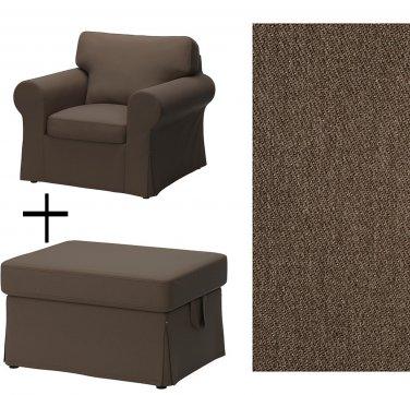 IKEA Ektorp Armchair and Footstool COVERS Slipcovers JONSBODA BROWN