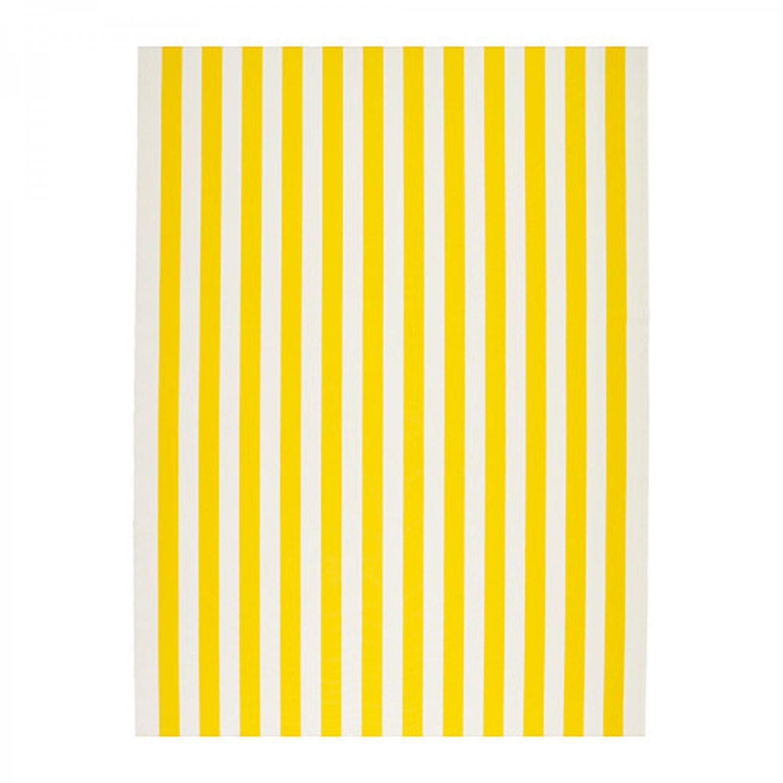 IKEA Sofia FABRIC Material 1 Yd YELLOW White Broad Stripe Cabana Print