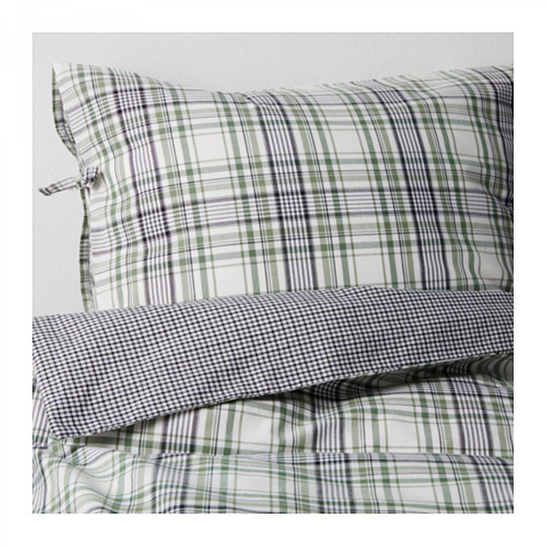IKEA Snarjmara Queen DUVET COVER Set Green PLAID SN�RJM�RA Yarn Dyed Soft