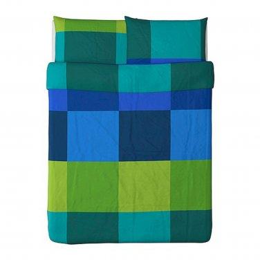 IKEA Brunkrissla QUEEN Full Duvet COVER Pillowcases Set BLUE GREEN Plaid Check Mondrian Color Block