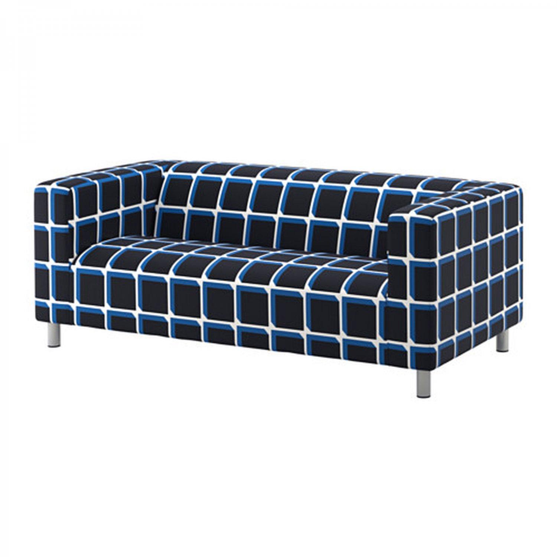 IKEA Klippan SLIPCOVER Loveseat Sofa Cover ALVARED Black Blue White Check Grid Cube GeometricPlaid
