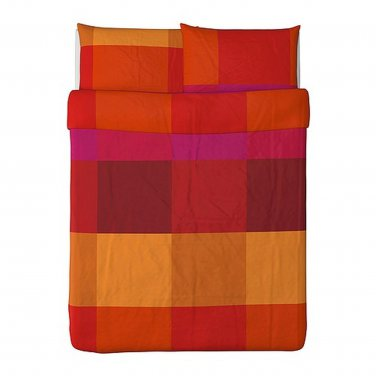 IKEA Brunkrissla QUEEN Full Duvet COVER Pillowcases Set RED ORANGE Pink Plaid Check Color Block
