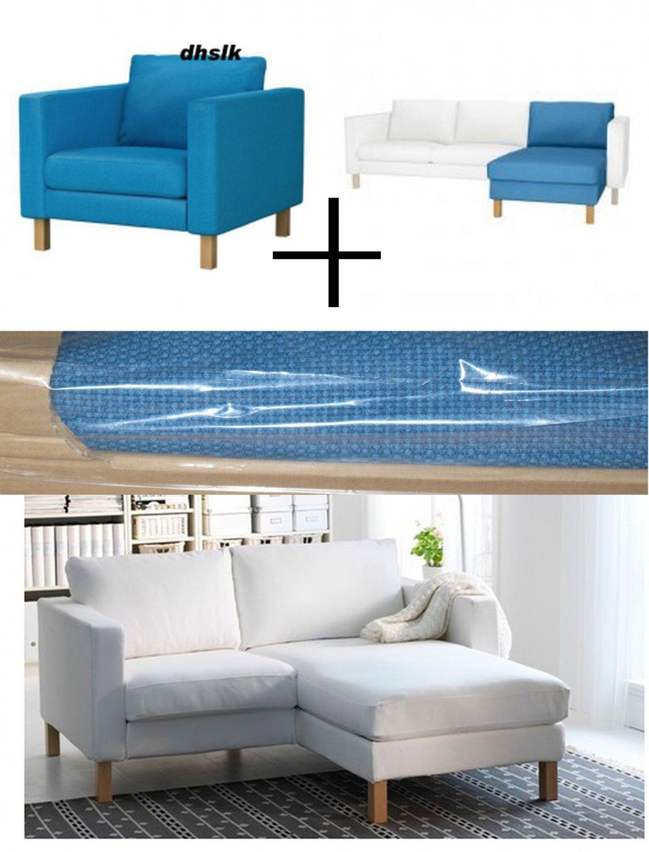 Ikea karlstad armchair w add on chaise slipcovers chair loungue covers kornda - Ikea chaise stockholm ...