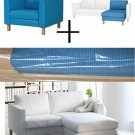 IKEA KARLSTAD Armchair w add-on Chaise SLIPCOVERS Chair Loungue COVERS Korndal Blue