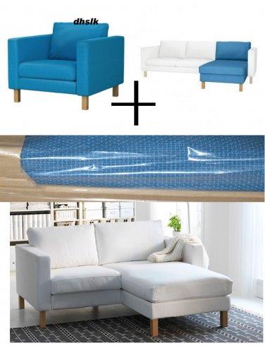 IKEA KARLSTAD Armchair w add-on Chaise SLIPCOVERS Chair Loungue COVERS Korndal Blue