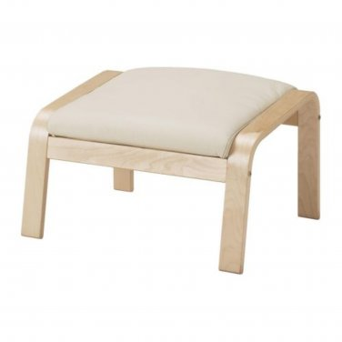 IKEA Poang LEATHER Footstool CUSHION ROBUST GLOSE OFF-WHITE Ottoman Cover PO�NG Top Grain