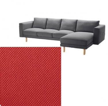 IKEA Norsborg 3 Seat Sofa w Chaise SLIPCOVER Cover FINNSTA RED 4 Seat Sectional COVER