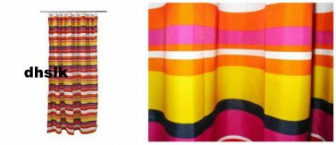 "IKEA Anja Rand FABRIC SHOWER CURTAIN 79"" Long STRIPED Orange Fucshia Yellow Black"