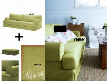 IKEA Hovas Sofa and Footstool SLIPCOVER Cover KALLVIK Light GREEN Källvik HOV�S