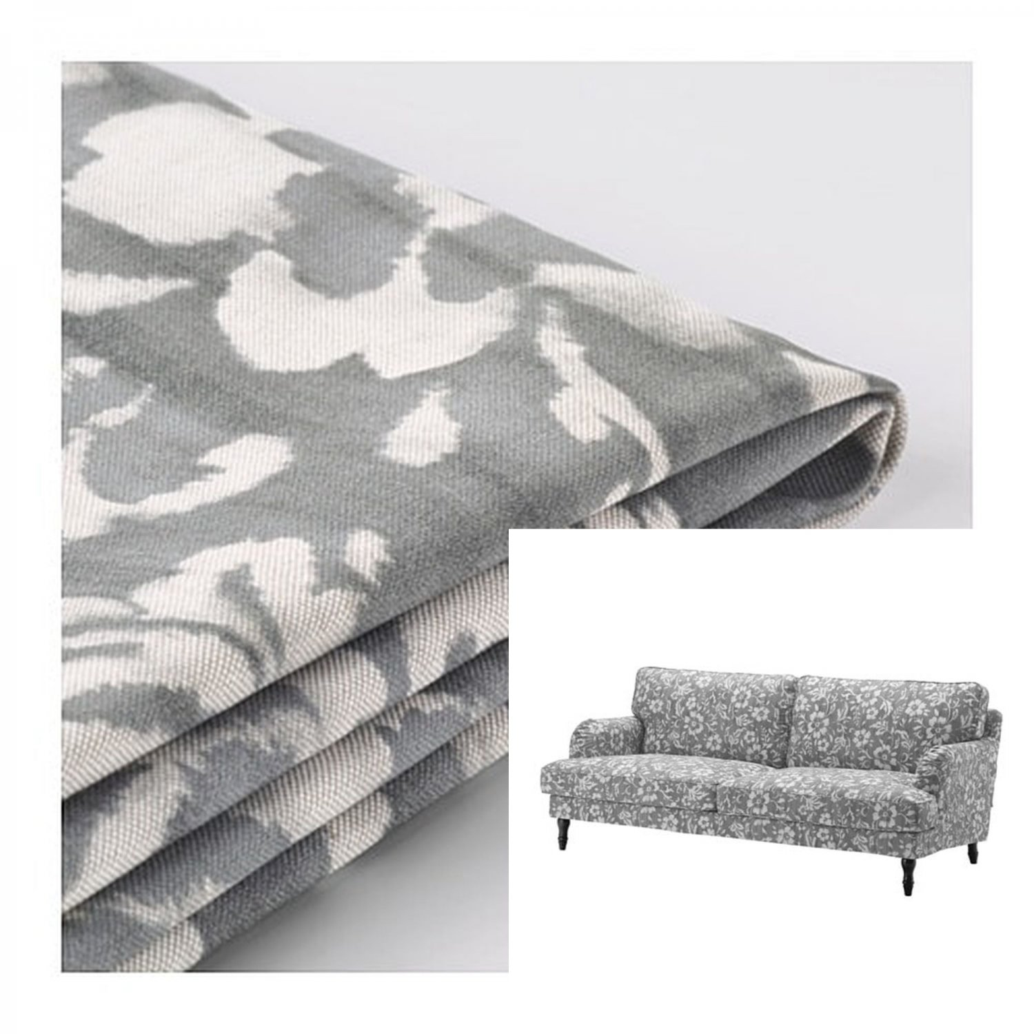 IKEA Stocksund 3 Seat Sofa SLIPCOVER Cover HOVSTEN Gray White Floral  Watercolour Effect Grey