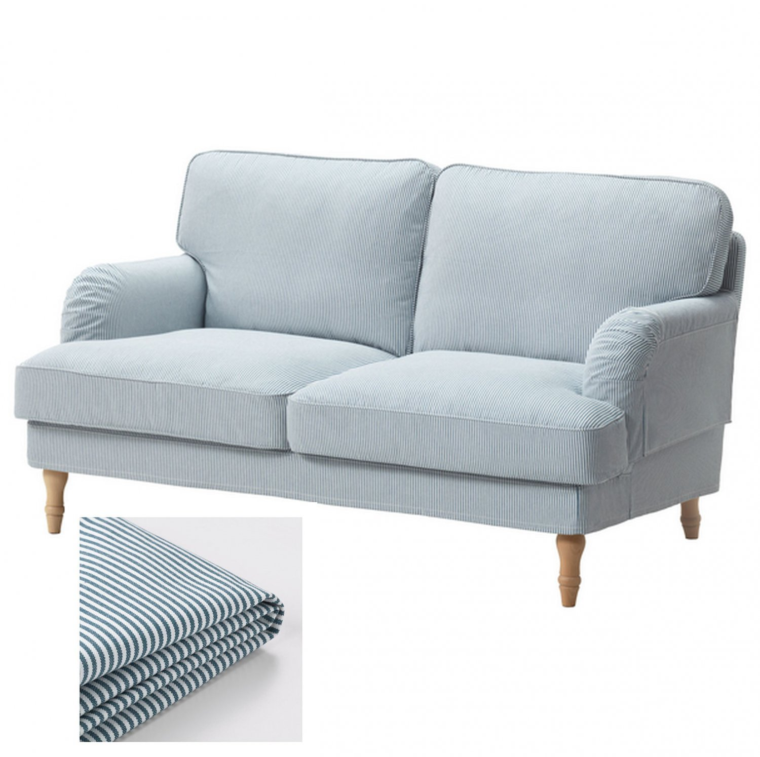 Ikea Stocksund 2 Seat Sofa Slipcover Loveseat Cover Remvallen Blue White Stripes