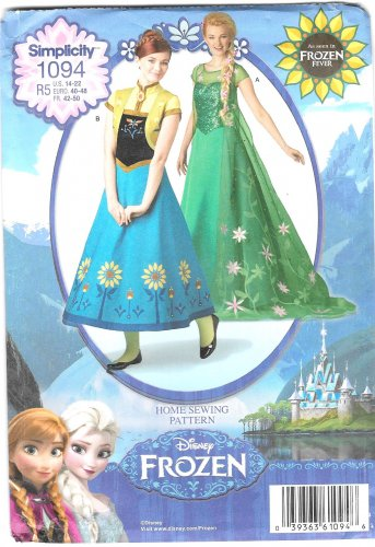 SIMPLICITY 1094 Disney's Frozen Fever Misses Costume Sewing Template Size R5 14-22