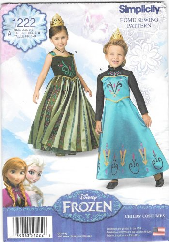 New Simplicity 1222  Anna / Elsa Frozen Fever Costumes Sewing Pattern Size