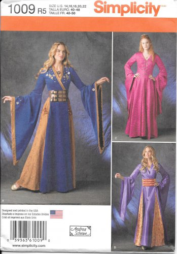 SIMPLICITY 1009 Andrea Schewe Medieval Gown Fantasy Costume Size 14, 16, 18, 20, 22