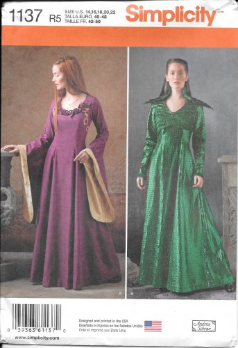 SIMPLICITY 1137 Andrea Schewe Medieval Gown Costume Pattern Size 14, 16, 18, 20, 22