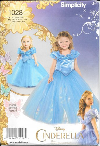 SIMPLICITY 1028 Disney Cinderella Girl Doll Fantasy Costume Pattern Size 3, 4, 5, 6, 7, 8