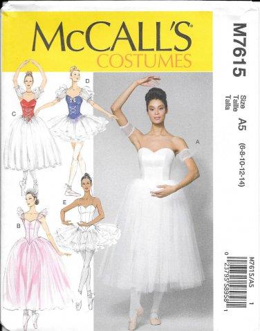 McCalls M7615 Ballet Dance Costume Size 6, 8, 10, 12,14 Pattern