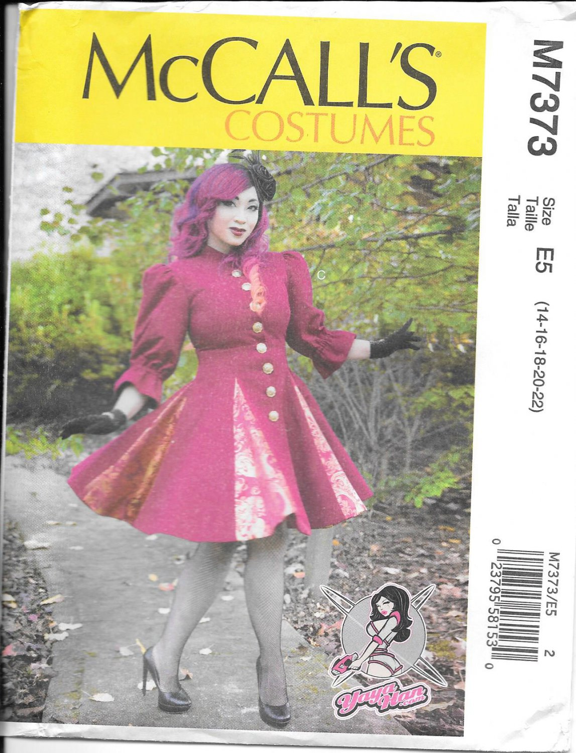 McCall's M7373 Adult Yaya Han Godet Coats Sizes 14, 16, 18, 20, 22 Costume Coat Pattern S