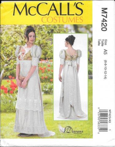 McCall's M7420 Regency Empire Waist Dress Sizes 6, 8, 10, 12, 14  Pattern