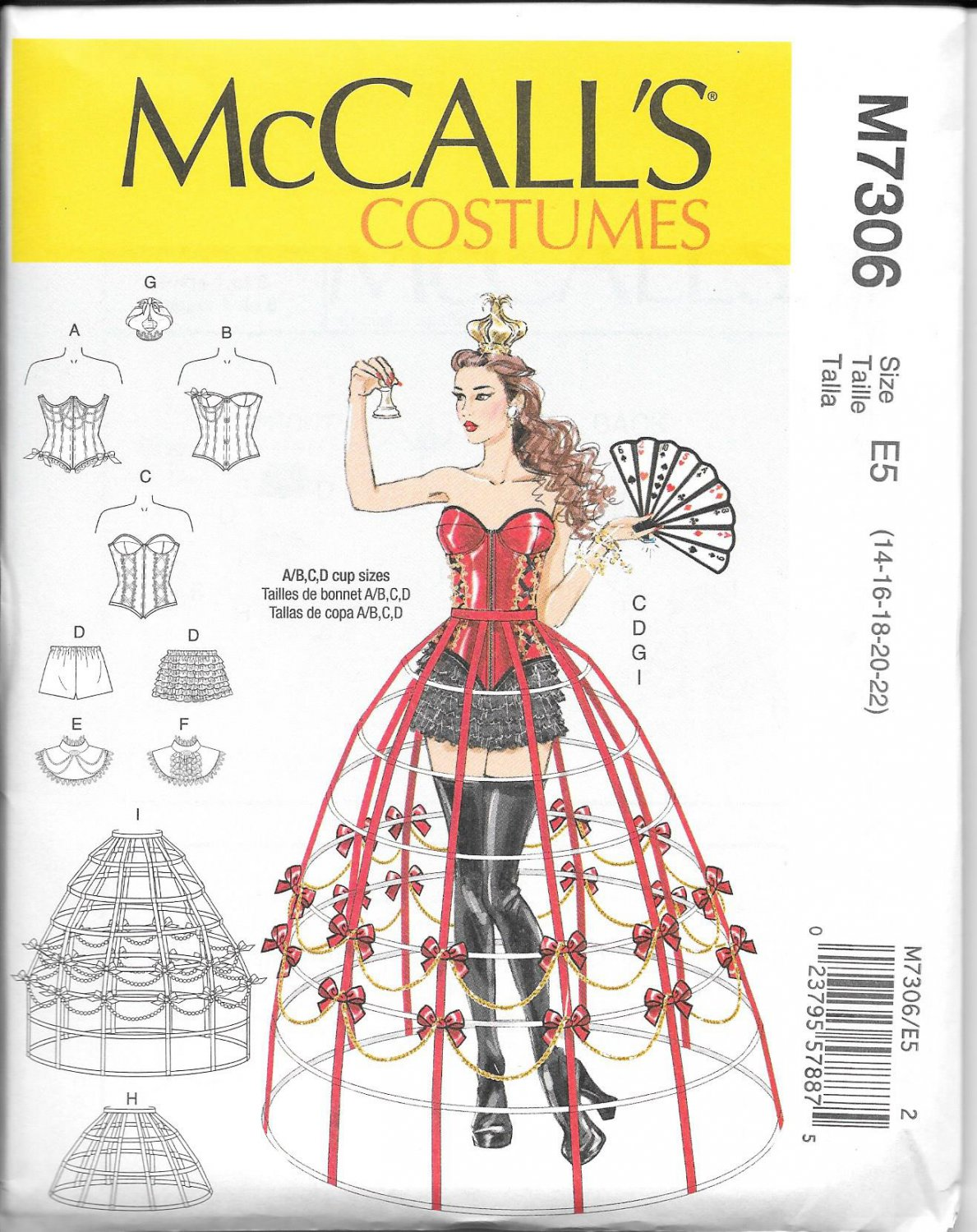 McCall's M7306 Corset Hoop Skirt Sizes 14, 16, 18, 20, 22 Costume Pattern
