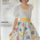 1980s Simplicity Flared Pull On Skirt Cuffed Blouse Size 10 12 14 Vintage Sewing Pattern 8691